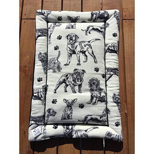 "Black White Dog Bed Kennel Liner Carrier Pad Medium Size 23x34x1.5"" Fits 24x36 Washable"