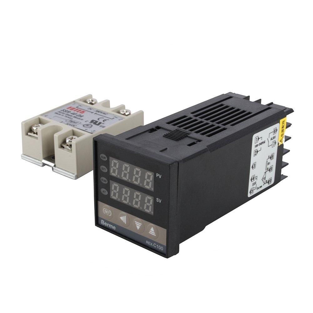 Alarm REX-C100 Digital Intelligent Thermostat LED PID Temperature Controller Kits AC110V-240V 0℃~400℃