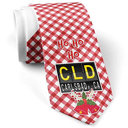 Cld Air (Men's Christmas NeckTie CLD Airport Code for Carlsbad, CA White with Plaid Red)