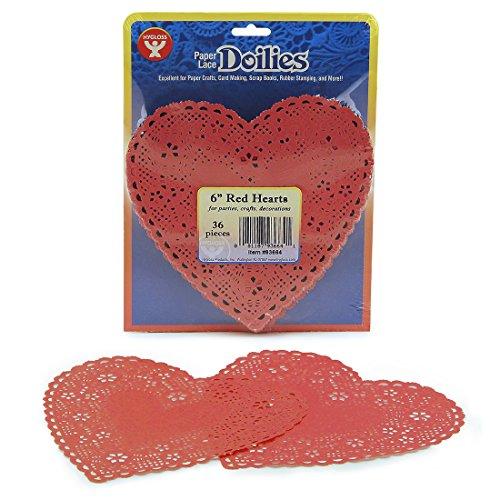 Hygloss 93664 36-Piece Heart Doilies, 6-Inch, Red
