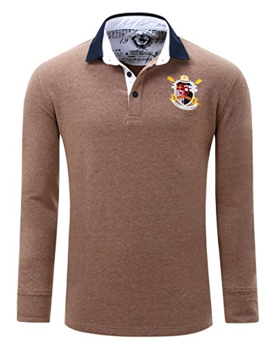 Polo shirts cokle men solid long sleeve lapel casual fit for Light brown polo shirt