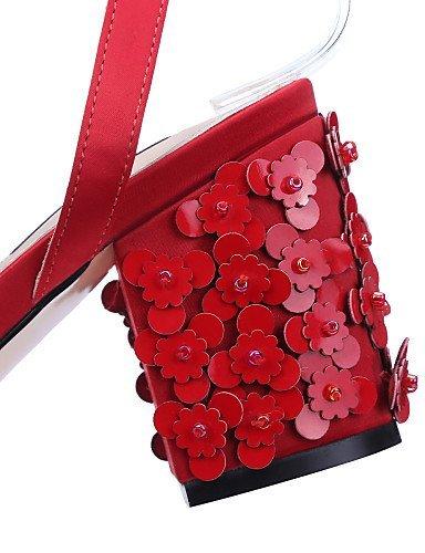 ShangYi Women's Shoes / Satin Chunky Heel Heels / Slingback / Open Toe Sandals Office & Career / Dress / (Genuine leather) White Mjqra