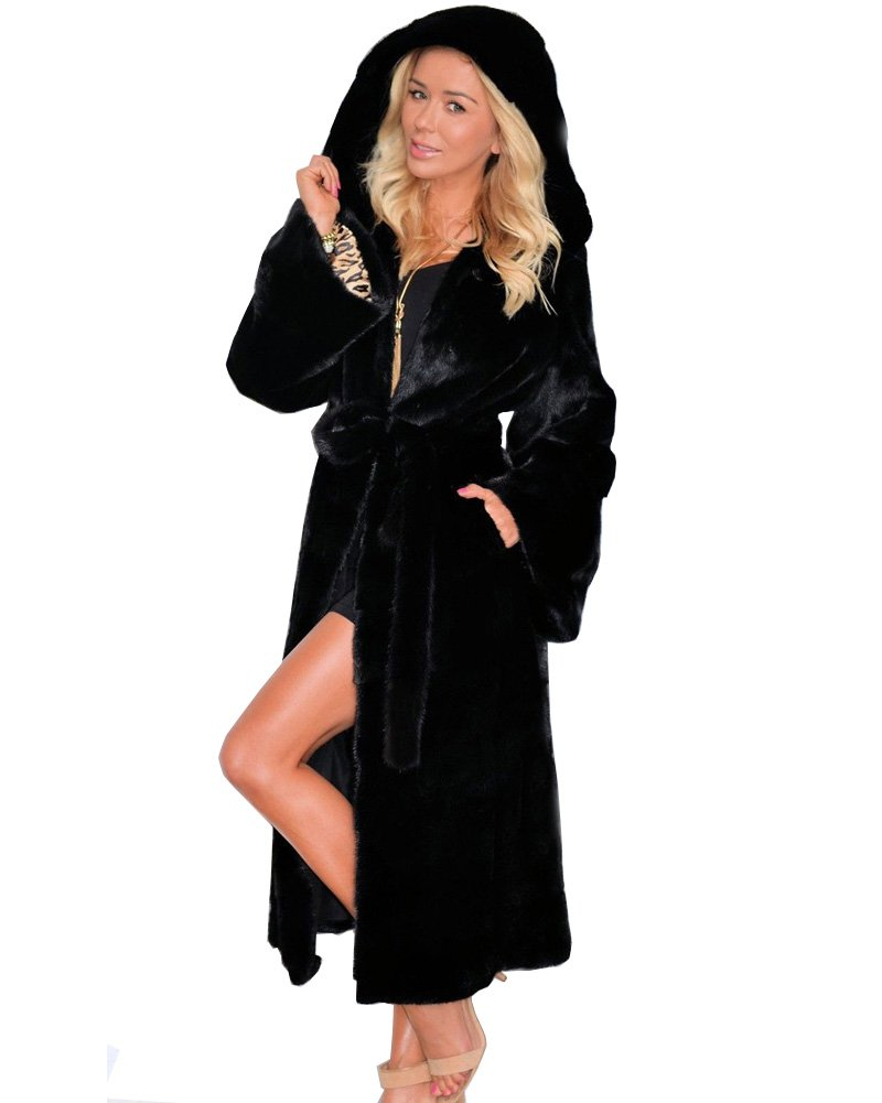 Aofur Women's Warm Winter Faux Fur Hooded Parka Long Coat Jacket Top Outwear New Fashion Thick Parka Overcoat by Aofur (Image #2)
