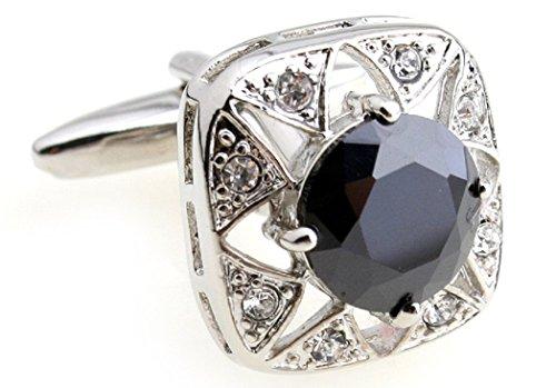 Cufflinks Crystal Round (MRCUFF Black Crystal Square Round Pair Cufflinks in a Presentation Gift Box & Polishing Cloth)
