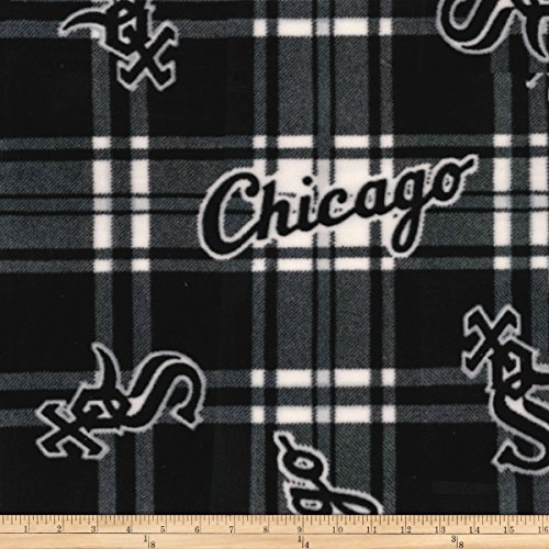 Fabric Traditions MLB Fleece Chicago Sox Black/White Fabric by The Yard Chicago White Sox Fabric