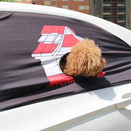 DEESEE) Dogs Cats Foldable Car Visor Cover Window Sun Shade