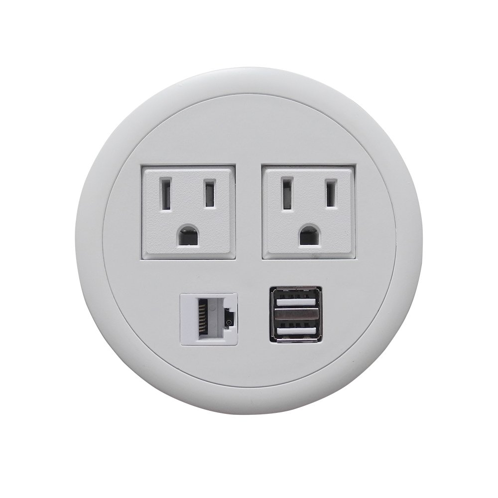 Zeshan Power Outlet White Grommet with 2 USB Ports 2 AC 1 RJ45 for Desk Table Office Home School Hotel