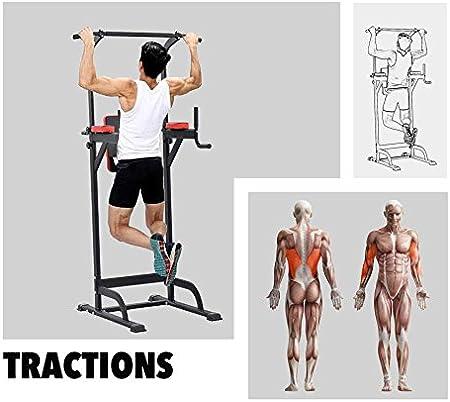 Pull up Fitness - Barra de tracción con Silla Romana, Color Negro y Rojo