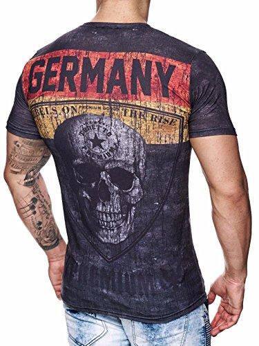 Deutschland T-Shirt Herren Schwarz Adler Totenkopf Germany Men Skull John Kayna