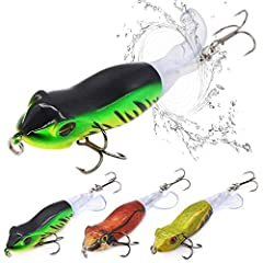 Utilize the specially designed tail of the XFISHMAN Whopper Plopper Topwater Lure to create enticing movements and sounds. Made of soft and pliable plastic, the tail rotates on the harnessto create alluring rumbles and varying sound in the wa...