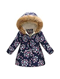 Tenworld B Toddler Girl's Windproof Winter Jacket Cotton Padded Hooded Coats 3t - 7t