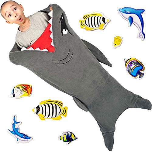 Cozy Shark Tails Blanket by CozyBomB for Kids - Smooth One Piece Blankie Design - Durable Seamless Snuggle Plush Throw - Enlarged Size Grey Sleeping Bag with Fin - Birthday For Boys and Girls -