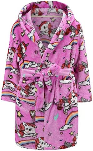 Girls Bathrobes Flannel Hooded Sleepwear