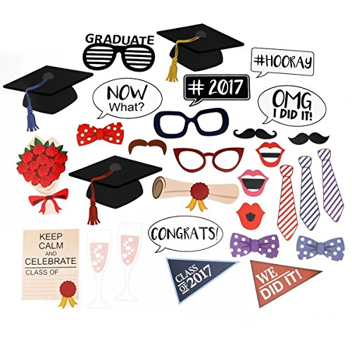 Graduation Party Photo Booth Props DIY Kit , 2017 Graduation Party Decorations - 30 pcs (College Costumes Girls)