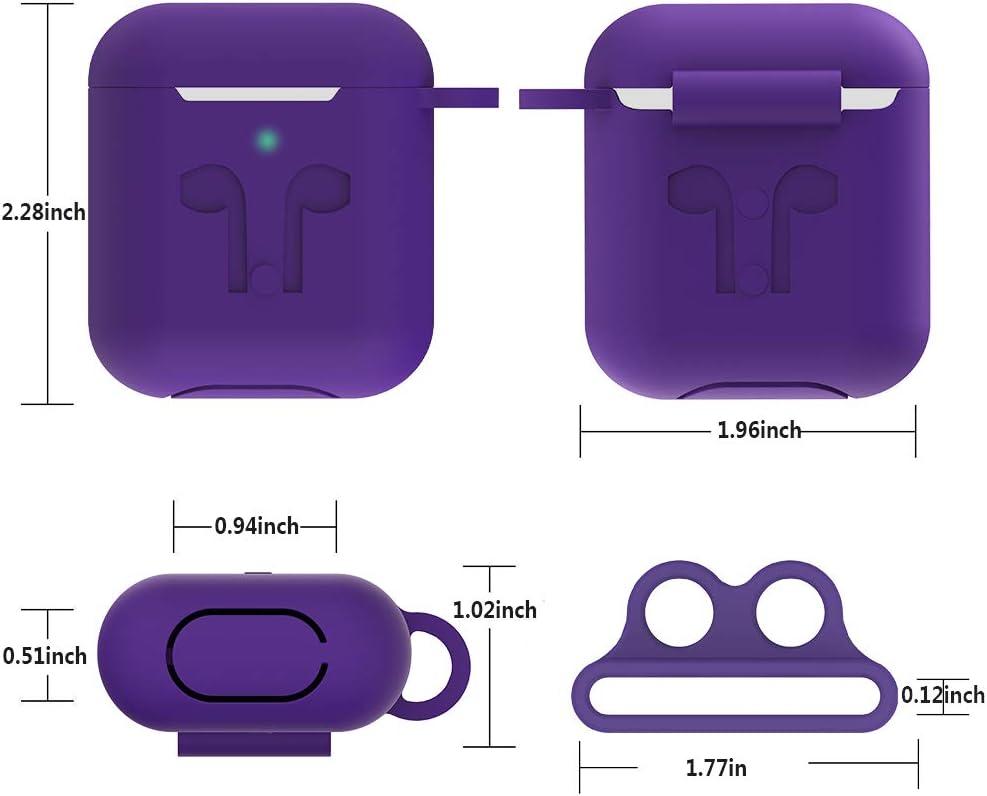LED Visible GeeRic Funda Compatible para Airpods 2, 8en1 Auriculares Silicona Sport Strap Estuche Auriculares Carga Funda Compatible con Airpods2 Amarillo