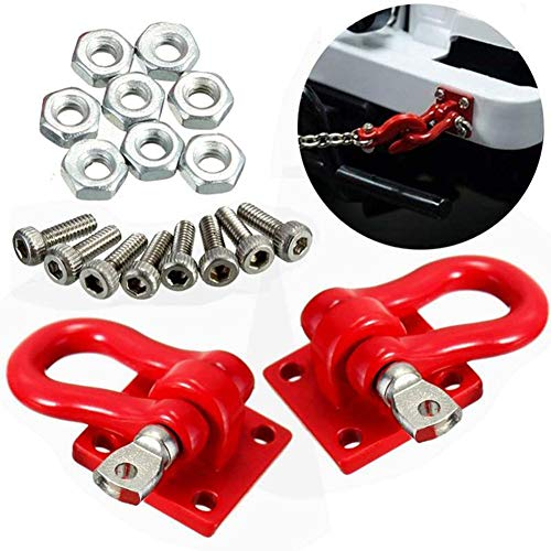 HsgbvictS Trailer Button External Modified Repair Tool A Pair 1/10 Scale Trailer Buckles Hooks Accessory for RC Truck Crawler Climber - Red