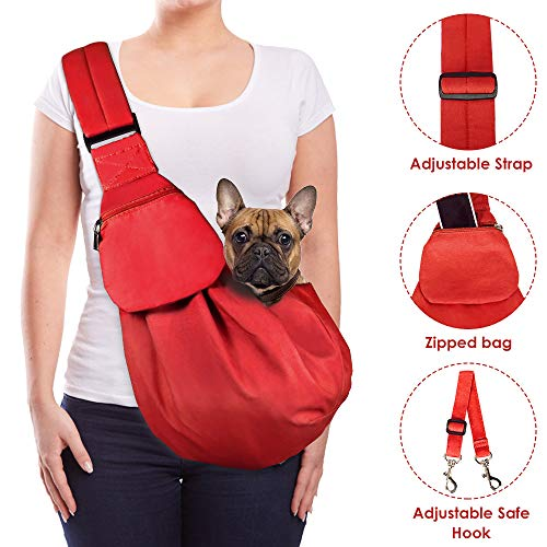 AutoWT Dog Padded Papoose Sling, Small Pet Sling Carrier Hands Free Carry Adjustable Shoulder Strap Reversible Outdoor Tote Bag with a Pocket Safety Belt Dog Cat Carrying Traveling Subway (Red)
