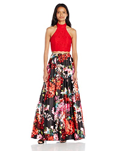 Blondie Nites Junior's Long Two Piece Lace Print Ballgown, Red/Multi, 11