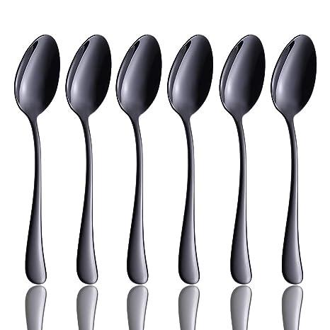 Amazon.com: Juego de 6 cucharas para cena, color negro ...