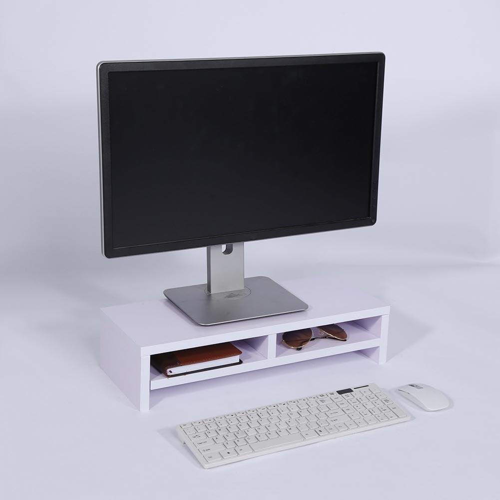 Madera TV Pantalla Soporte Escritorio Organizador Multi-funci/ón Almacenamiento Elevador De Monitor-a 47x20cm 19x8inch KKLTDI Ordenador Elevador De Monitor con Caj/ón