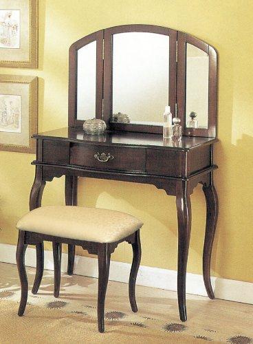 William's Home Furnishing Espresso Tri-mirror Vanity (Cheap Furniture Mirrored)
