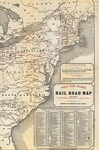 Tunis new colored rail road map of the United States & Canadas: A Poetose Notebook / Journal / Diary (100 pages/50 sheets) (Poetose Notebooks)