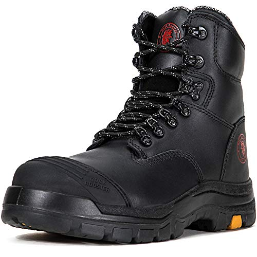 ROCKROOSTER Work Boots for Men, 8 inch, Steel Toe, Slip Resistant Safety Oiled Leather Shoes, Static Dissipative, Breathable, Quick Dry, Anti-Fatigue(AK245 12)