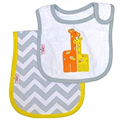 Happy Chic by Jonathan Adler Embroidered, Applique Interlock, Woven Terry Side Closure Bib and Ergonomic Burp Cloth Set, Yellow Giraffe