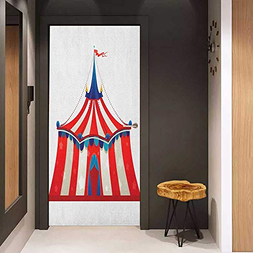 Onefzc Photo Wall Decal Circus Colorful Striped Circus Marquee Tent Stars Carnival Performance Illustration for Home Decor W30 x H80 Vermilion Blue ()