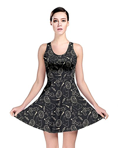 - CowCow Womens Black Halloween Pattern with Smiling Ghost Pumpkin Witch Reversible Skater Dress, Black - XS