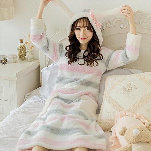 Caldo donna lungo cappuccio con accappatoio righe Dimensione XL Accappatoio OHlive addormentato pezzo di con un Accappatoio a da Lungo accappatoio cappuccio PwOYPfqa8x