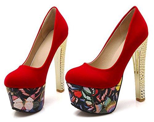 Aisun Kvinna Mode Blommönster Dressat Rund Tå Lågt Skuren Chunky Hög Klack Slip På Plattformen Pumpar Skor Röd