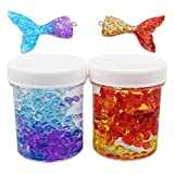 Slime Fluffy Clear Slime Kit- BESTZY 2 Cans Crystal Slime with Fishtail and Fishbowl Beads, Super Soft and Non-Sticky, DIY Slime Kits for Boys and Girls (120ml Each One)