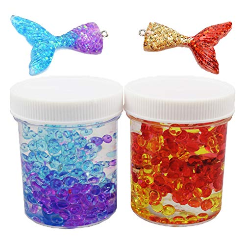 BESTZY Fluffy Fishbowl Slime - 2 Cans Idea Crystal Clear Slime Fishtail Fishbowl Beads, Super Soft Non-Sticky, Boys Girls (120ml Each One)