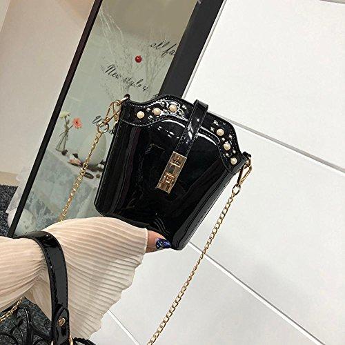 Bandoulière Crossbody Noir pour Sac à Main Messenger Sac épaule à Brillant Bag Cabina PU La Sac Porté Femmes Fille fqtxOna