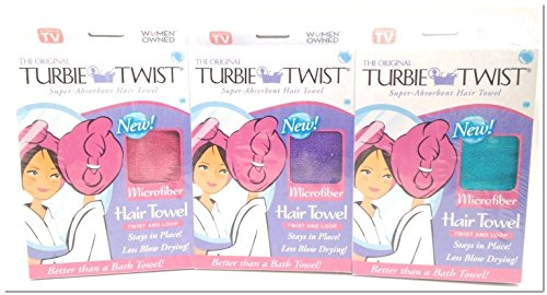 Turbie Twist Microfiber Super Absorbent Hair Towel Pink-Purple-Aqua by Turbie Twist by Turbie Twist