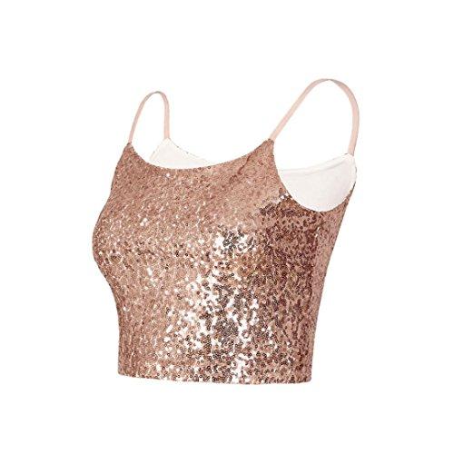 De Camisa Tops Crop Chaleco Superior Camiseta Mujer Oro Para Mujer venmo Recorte Sexy Lentejuelas Tirantes Cami PWqOUw6Wd