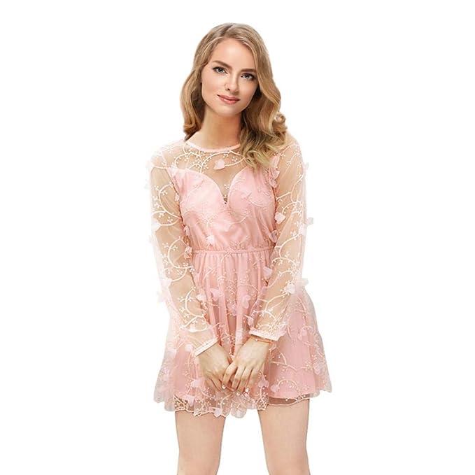 38c478f856d4 Vestido de Fiesta Manga Larga Elegantes Coctel Noche para Mujer de ...