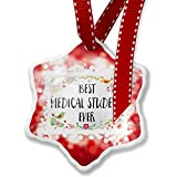 Christmas Ornament Happy Floral Border Medical Student, red - Neonblond