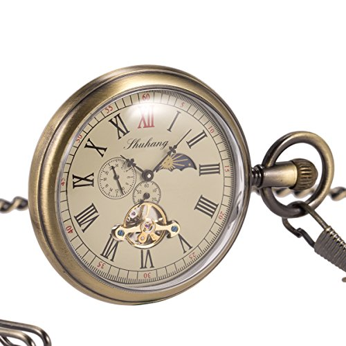 Skeleton Pocket Watch - Horizontal Open Face Phases Moon Sun 24-Hour Coper Chain by ManChDa (Image #1)'