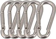 CNBTR Spring Snap Hook Grade M5 x 50mm 304 Stainless Steel Pack of 5