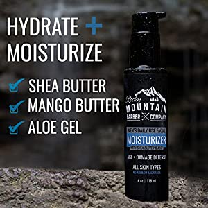 Moisturizer For Men – Non-Greasy Lotion to Protect, Hydrate, & Restore Your Face – With Shea Butter, Jojoba Oil, Argan Oil & Vegetable-Derived Glycerin – Non-Clog, Fragrance-Free – All Skin Types