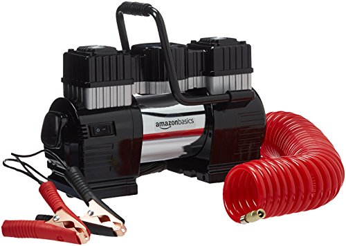AmazonBasics Portable Air Compressor, Dual Battery Clamps with Carrying Case - Compressor Volt