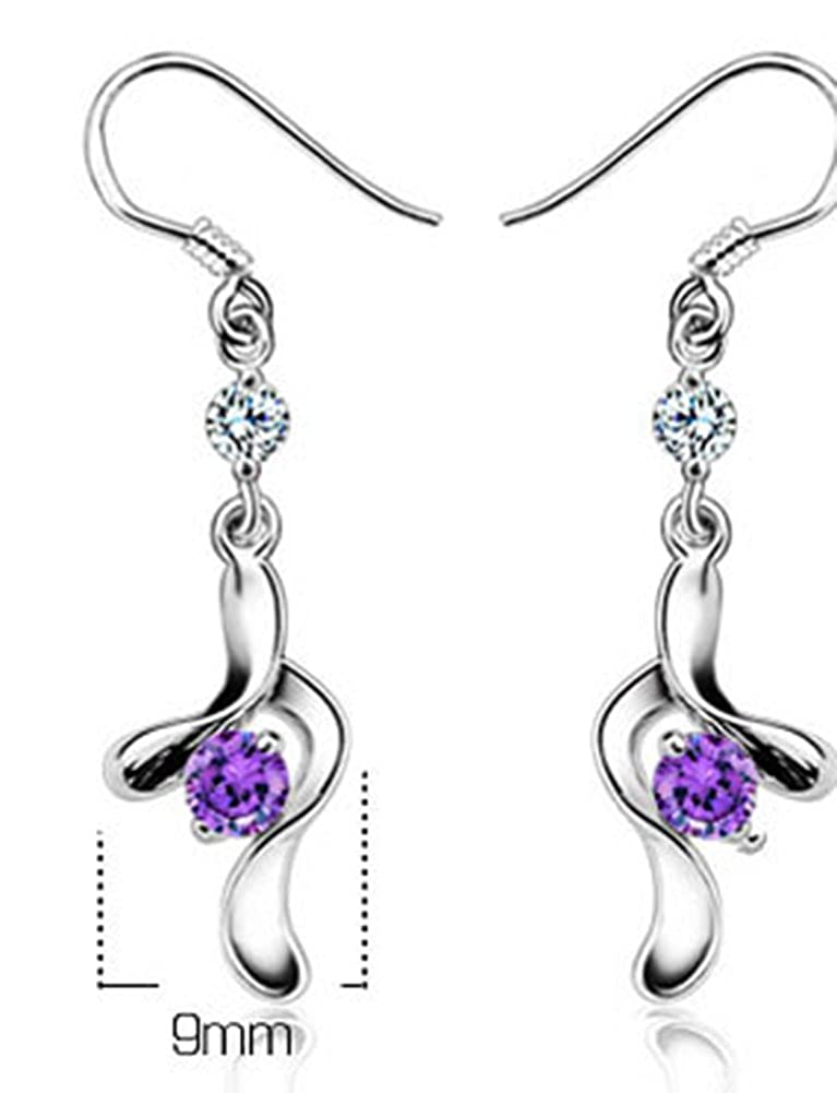AmaranTeen 925 Sterling Silver New Fashion Purple Crystal Party