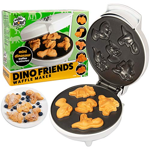 CucinaPro Dinosaur Mini Waffle Maker- Make Breakfast Fun and Cool for Kids and Adults with Novelty Pancakes- 5 Different Shaped Dinos in Minutes - Electric Non-Stick Waffler Iron