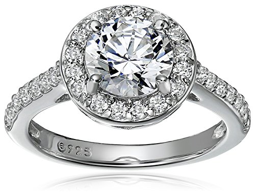 Platinum-Plated Sterling Silver Round-Cut Halo Ring made with Swarovski Zirconia, Size 5