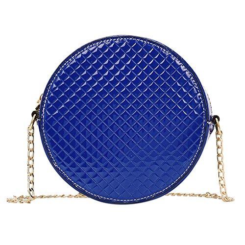 Everpert Women Patent Leather Crossbody Handbags Round Chain Shoulder Messenger Bags Blue