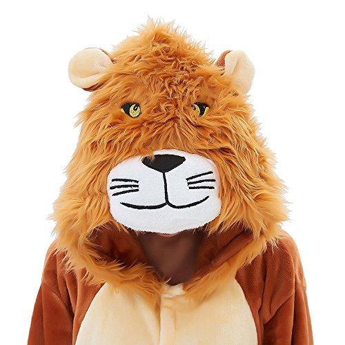 ABENCA Kids Fleece Onesie Pajamas Christmas Halloween Animal Cosplay Sleepwear Costume (Height 140cm/4'7, Brown) -