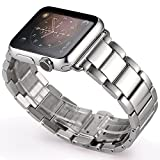 Apple Watch Band, Pomarks 38mm Stainless Steel iWatch Band Strap for Apple watch, Polishing Metal Watchband with Butterfly Buckle & Quality Connector [ Free Accessories Tempered Glass Screen Protector] (38mm-Silver)