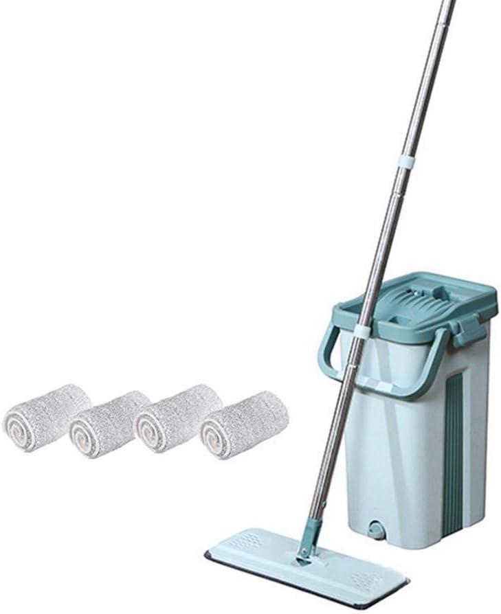 Wischmopp Easy Clean Set,Squeeze Flat Mop Hand Free Waschen Bodenreinigungswerkzeuge Mop Bucket Set F/ür Trockenes Und Nasses Staubhaar decaden Mop Eimer System Flach-mopp Eimer Set